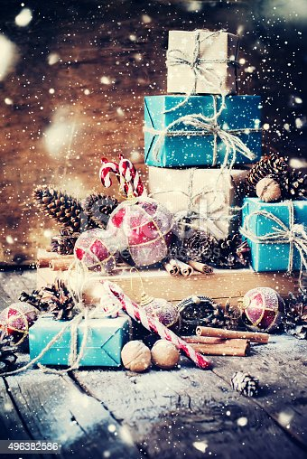 493890050 istock photo Holiday Christmas Gifts with Boxes, Fir Tree Toys. Drawn Snow 496382586