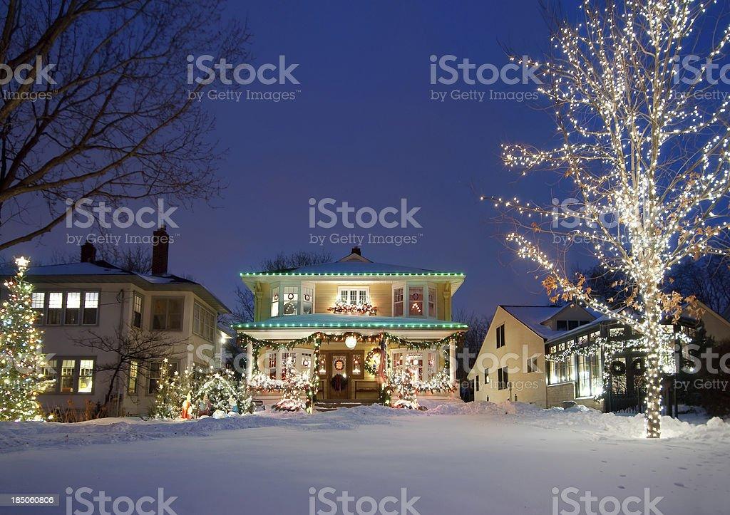 Holiday Christmas lights stock photo