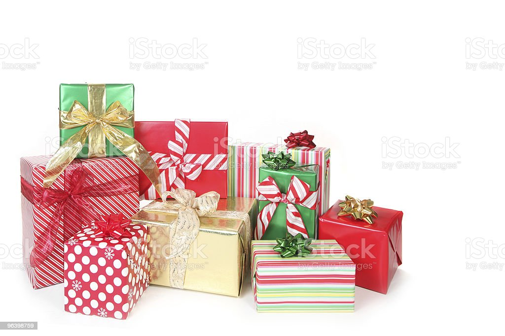 Holiday Christmas Presents on White With Copyspace - Royalty-free Celebration Stock Photo
