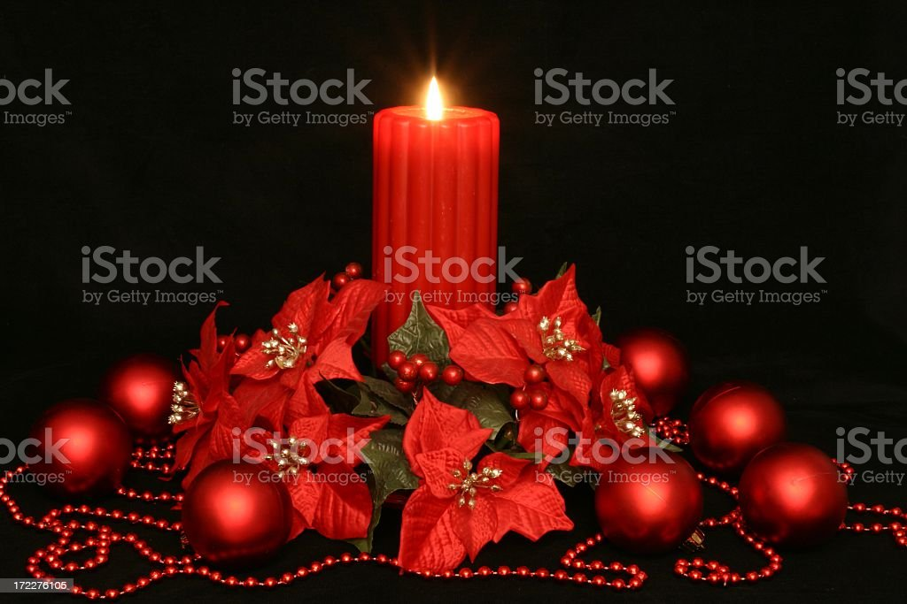 Holiday: Christmas red Candle Centerpiece royalty-free stock photo