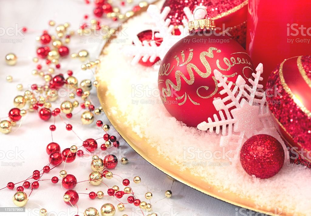 Holiday Christmas Table Decorations With Red And Gold Ornaments