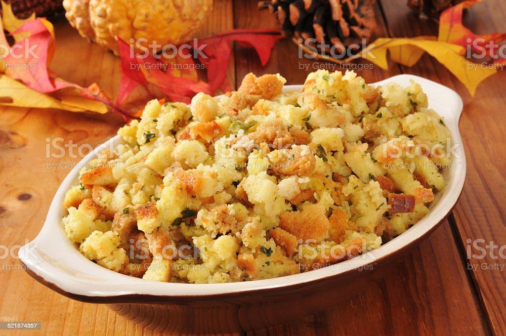Holiday cornbread stuffing stock photo