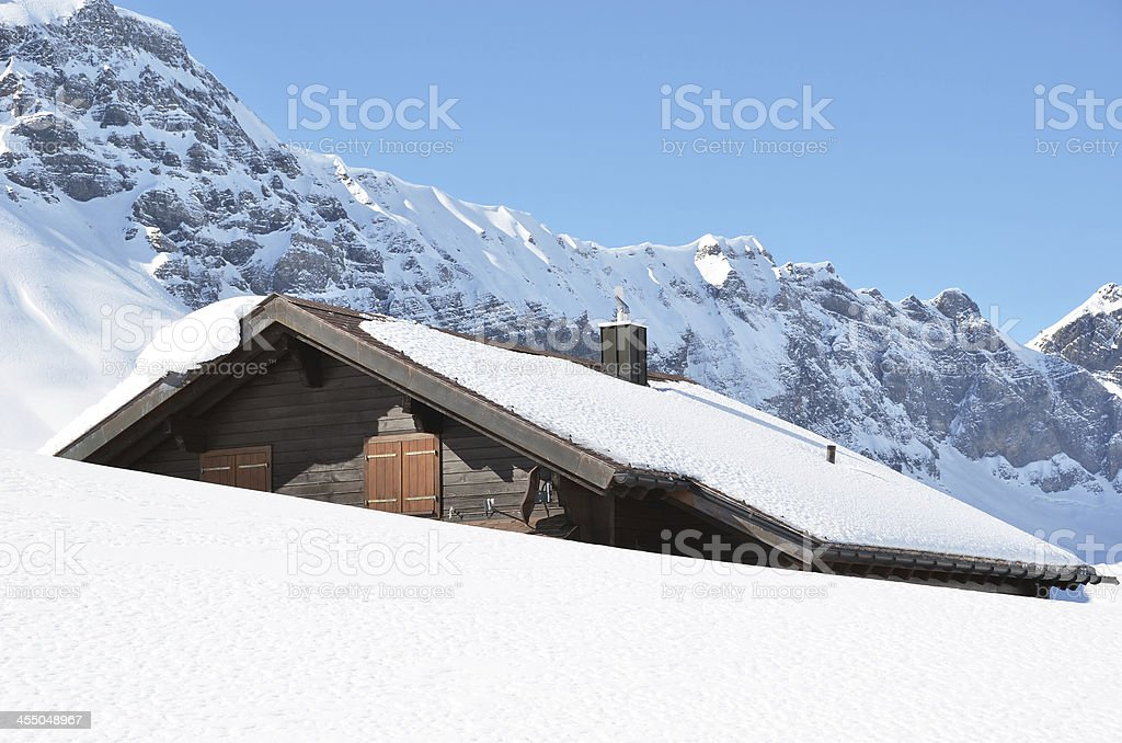 Holiday cottage in Melchsee-Frutt, Switzerland stock photo