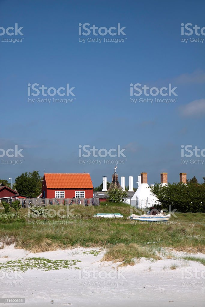 Holiday cottages on the beach at Bornholm royalty-free stock photo