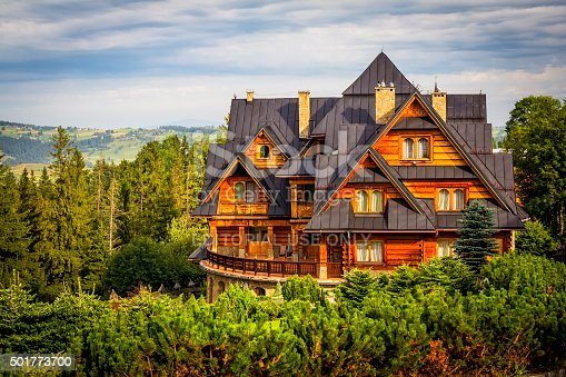 Zakopane, Poland - August 21, 2012:Summer view of beautiful holiday country mansion in Zakopane, small tourist resort in Tatra Mountains, Poland