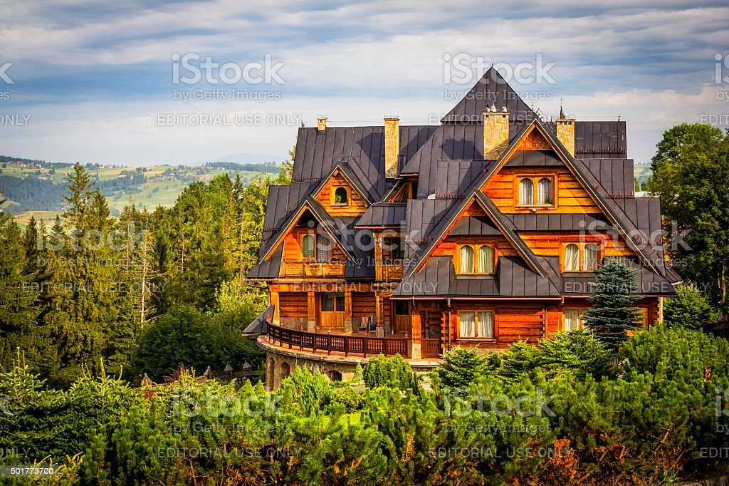 Holiday country mansion in the Tatra Mountains stock photo