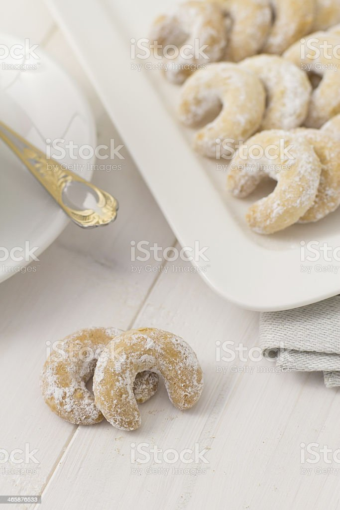 Holiday crescent cookies stock photo