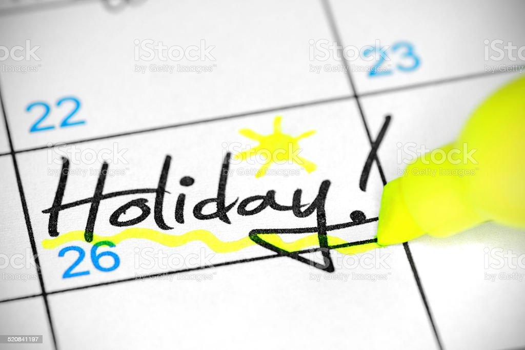 Férias data no calendário - foto de acervo