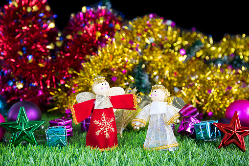 Holiday Decoration On Green Grass Stock Photo - Download Image Now