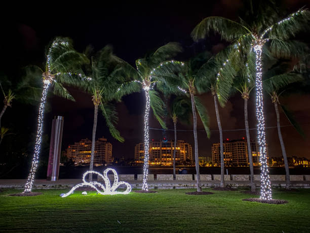 Holiday decorations in Miami Beach South Pointe Park