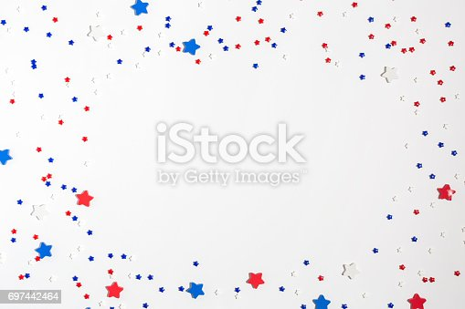 973461098 istock photo USA holiday decorations on a white background 697442464