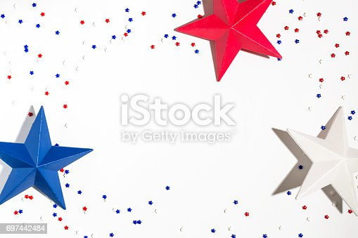 973461098 istock photo USA holiday decorations on a white background 697442484