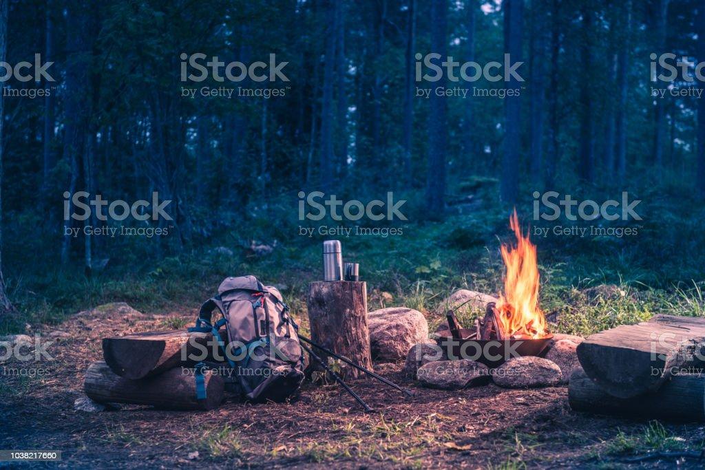 Destination de vacances dans un voyage de forêts par le feu - Photo