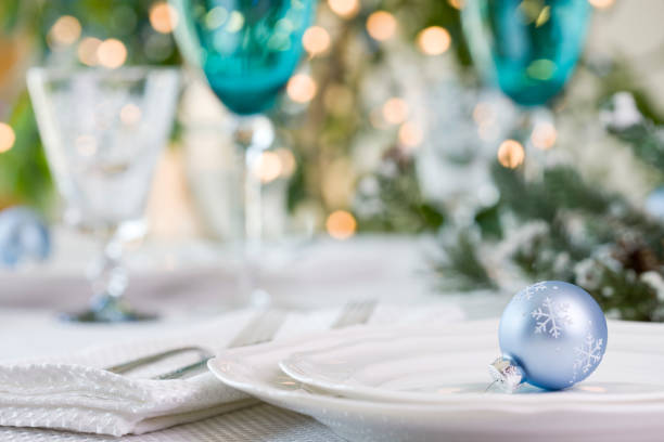 holiday dining (xxl) - blue table setting stock photos and pictures
