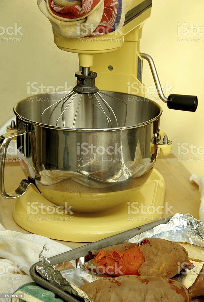 Holiday Dinner Preparation: Yam Souffle royalty-free stock photo