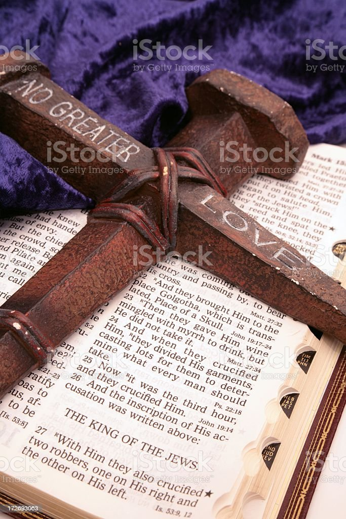 Holiday: Easter Bible scripture with rusty cross royalty-free stock photo