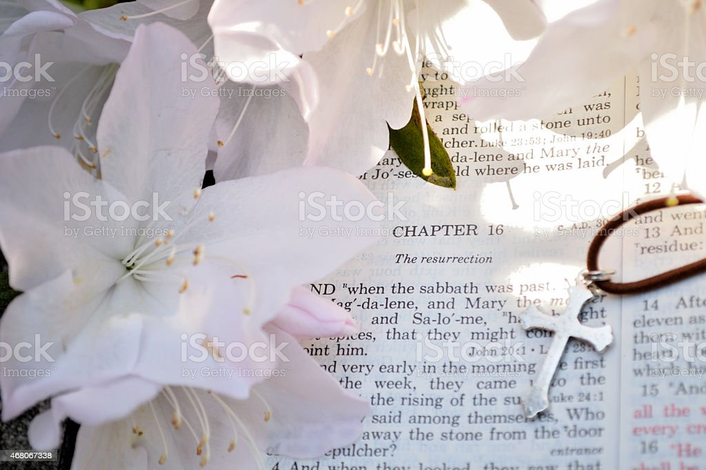 Holiday Easter photo of Bible verses stock photo