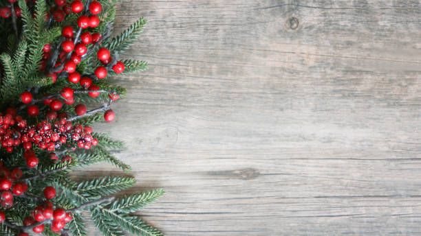 holiday evergreen branches and berries over wood - christmas stock photos and pictures