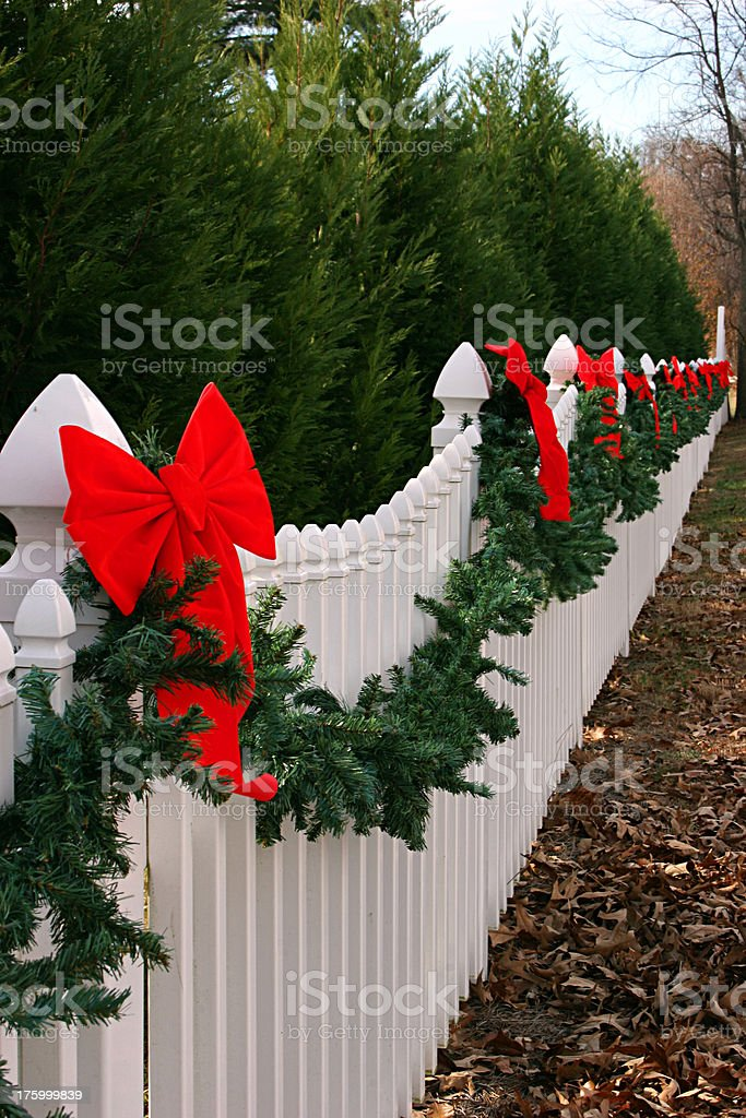 Holiday Fence Vertical royalty-free stock photo