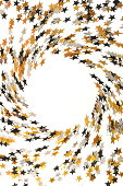 istock Holiday, festive, Christmas background. Gold, black, silver stars confetti pattern on white background top view. Copy space 1178062553