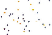 istock Holiday, festive, Christmas background. Gold, black, silver stars confetti pattern on white background top view. 1178062600