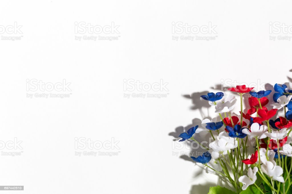 USA holiday flower decorations on a white background stock photo