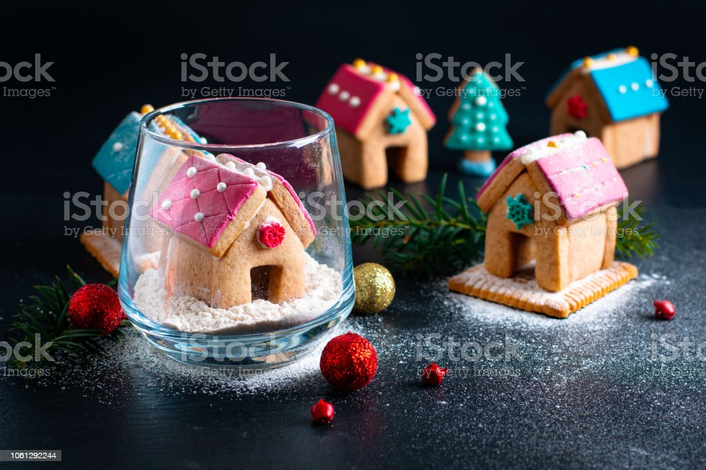Holiday Food Diy Pastel Christmas Cookies Gingerbread Houses And Christmas Tree For Gift Or Party Stock Photo Download Image Now