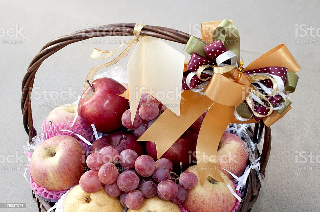 holiday fruit basket stock photo