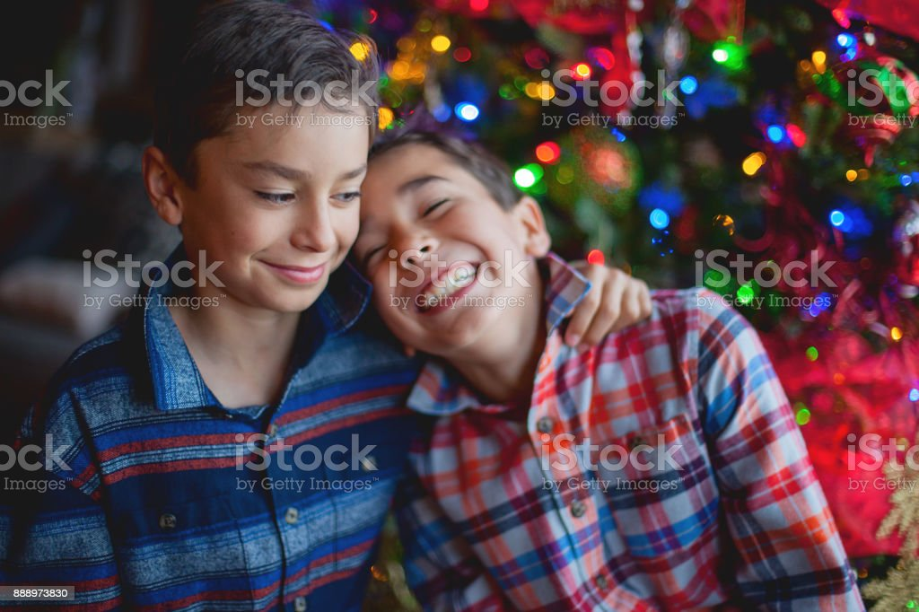 Holiday Gatherings - Young Brothers During The Holidays stock photo