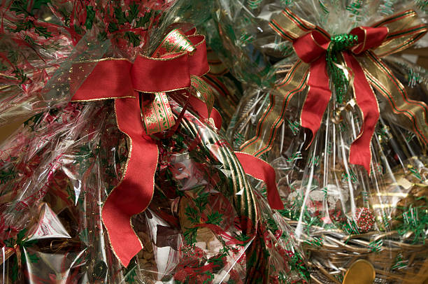 Royalty free christmas gift basket pictures images and stock holiday gift baskets stock photo negle Gallery