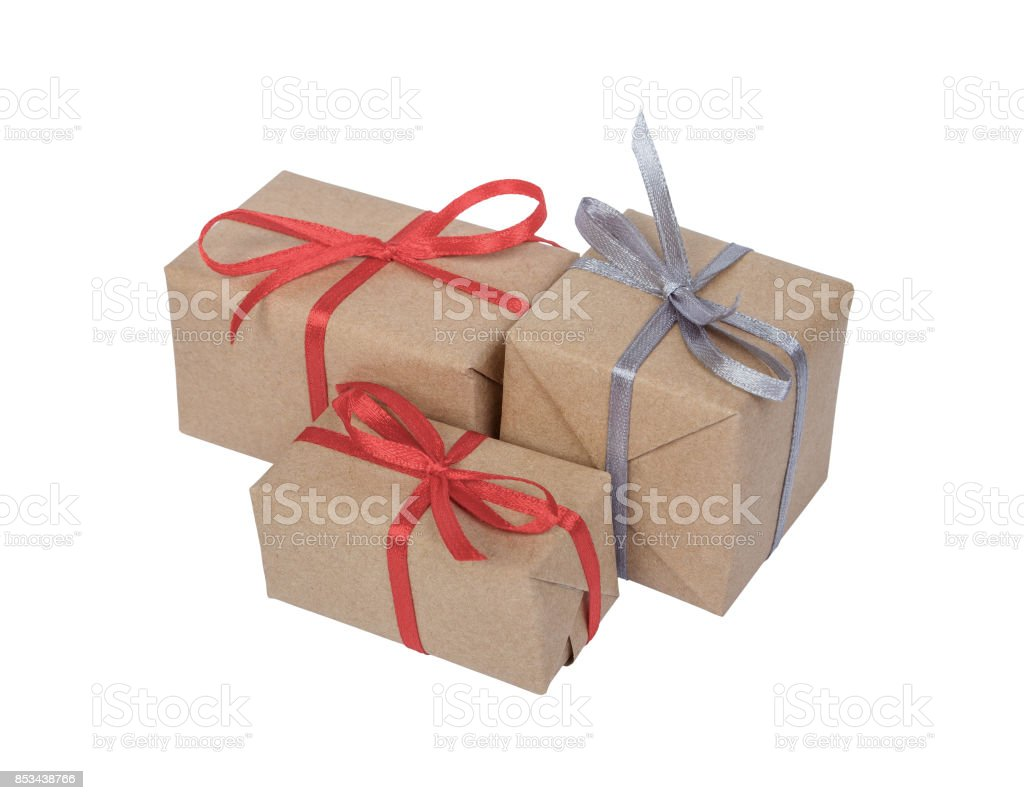 Holiday gift boxes decorated with ribbon isolated on white background stock photo
