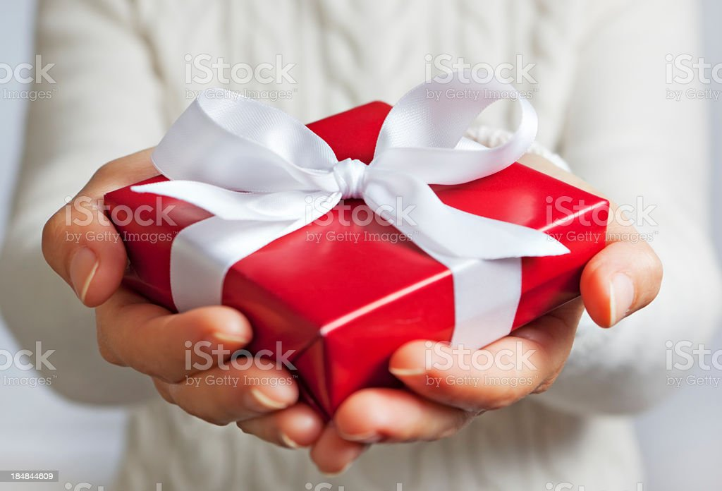 Holiday gift giving royalty-free stock photo