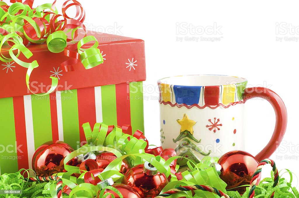 Holiday Gift with Mug and Decorations royalty-free stock photo