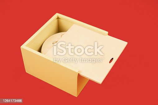 istock holiday gift wooden box isolated on red marketing mock up concept pattern with empty copy space for your text here 1264173466