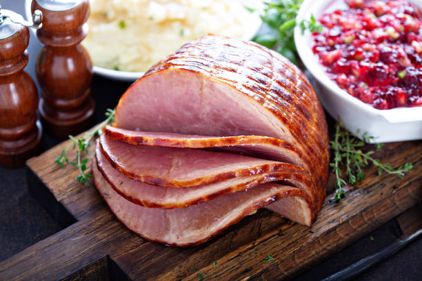 holiday glazed sliced ham - miele dolci foto e immagini stock