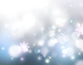 Winter holiday snowy background. Glowing lights snowlakes xmas christmas new year bokeh illustration. Sparkling snowfall wallpaper.