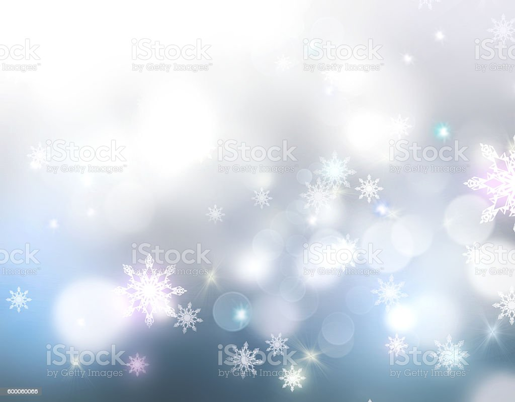 Holiday glowing lights winter snowflakes background. stock photo