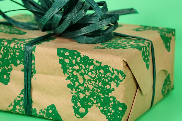 Holiday: Going Green Christmas wrapped present stock photo