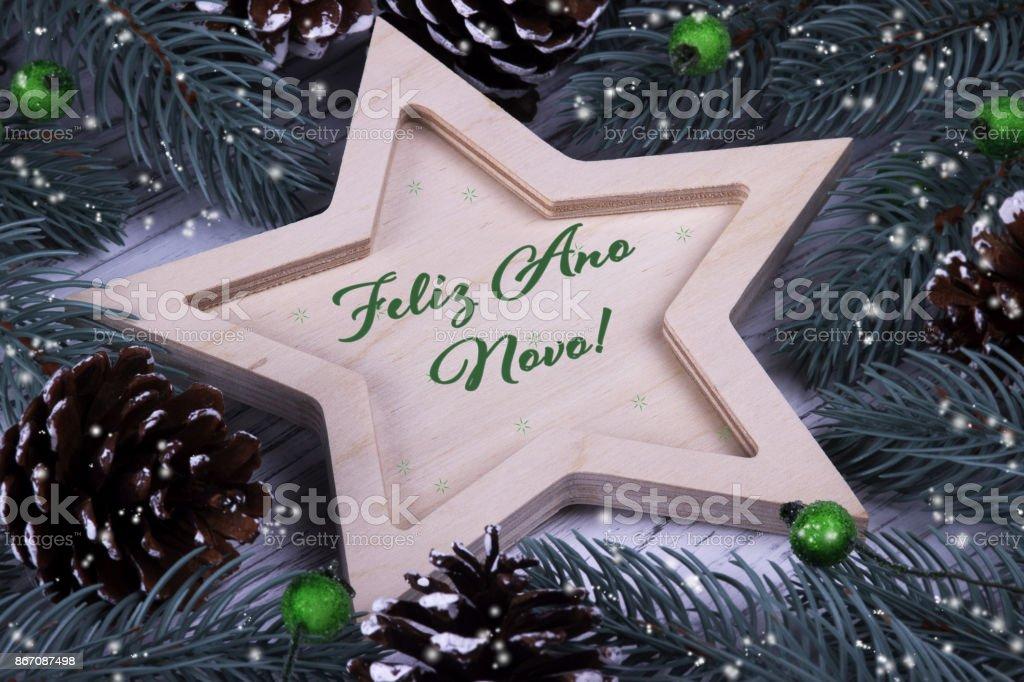 Holiday greeting card with text Feliz Ano Novo, Portugal stock photo