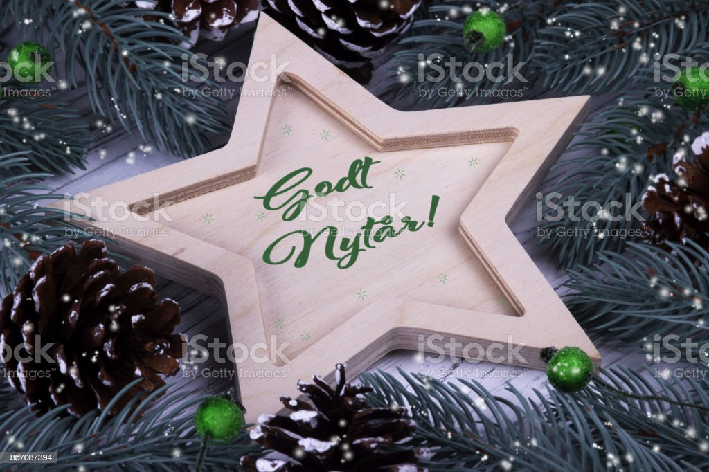 Holiday greeting card with text Godt Nytar, Denmark stock photo