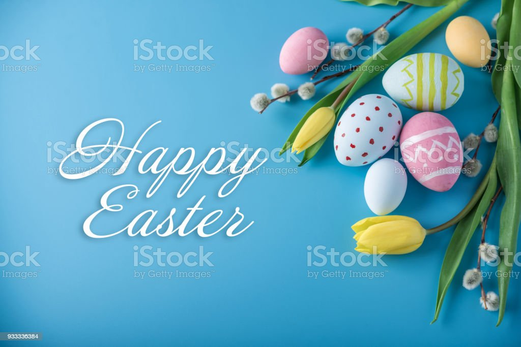 Holiday greeting card with text happy Easter stock photo