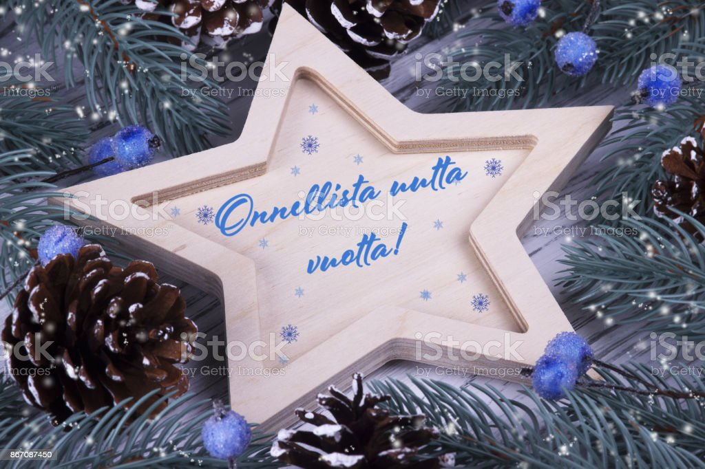Holiday greeting card with text Happy New Year, Finland stock photo