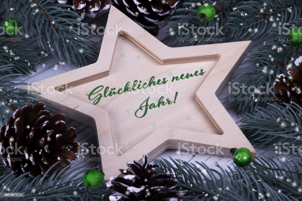 Holiday greeting card with text Happy New Year in German stock photo