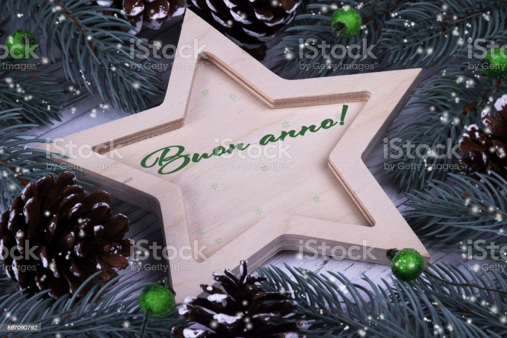 Holiday greeting card with text Happy New Year, Italy stock photo