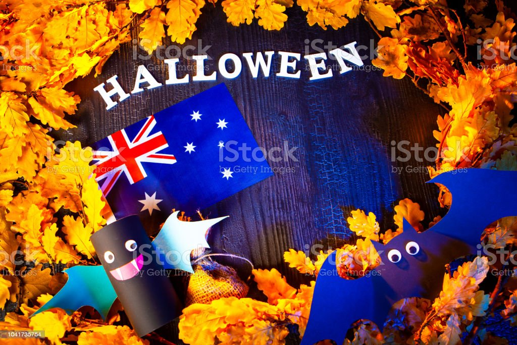 Holiday Halloween. Australia. Autumn holiday. Vampires against the...
