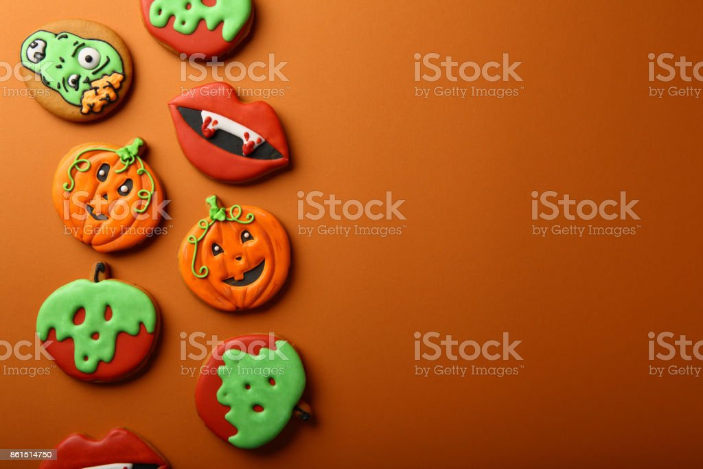 Holiday Halloween background with cookies