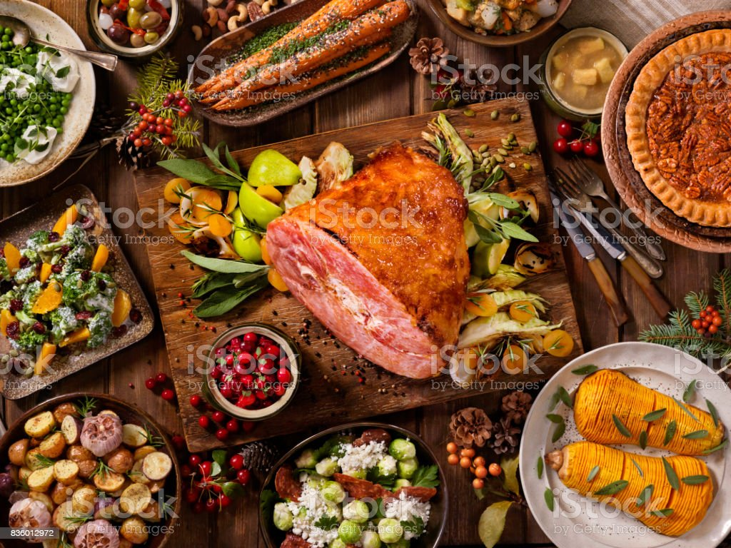 Holiday Ham Dinner stock photo