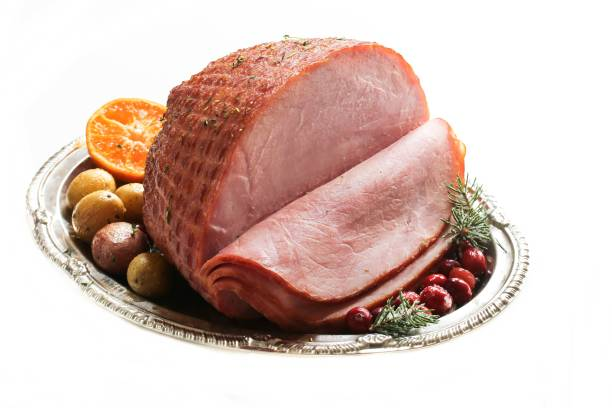 Holiday Ham isolated on white, selective focus stock photo
