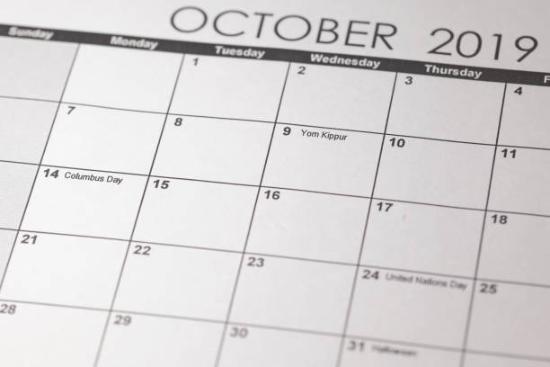 USA holiday, Happy Columbus Day, for the second Monday in October, 14 October. stock photo