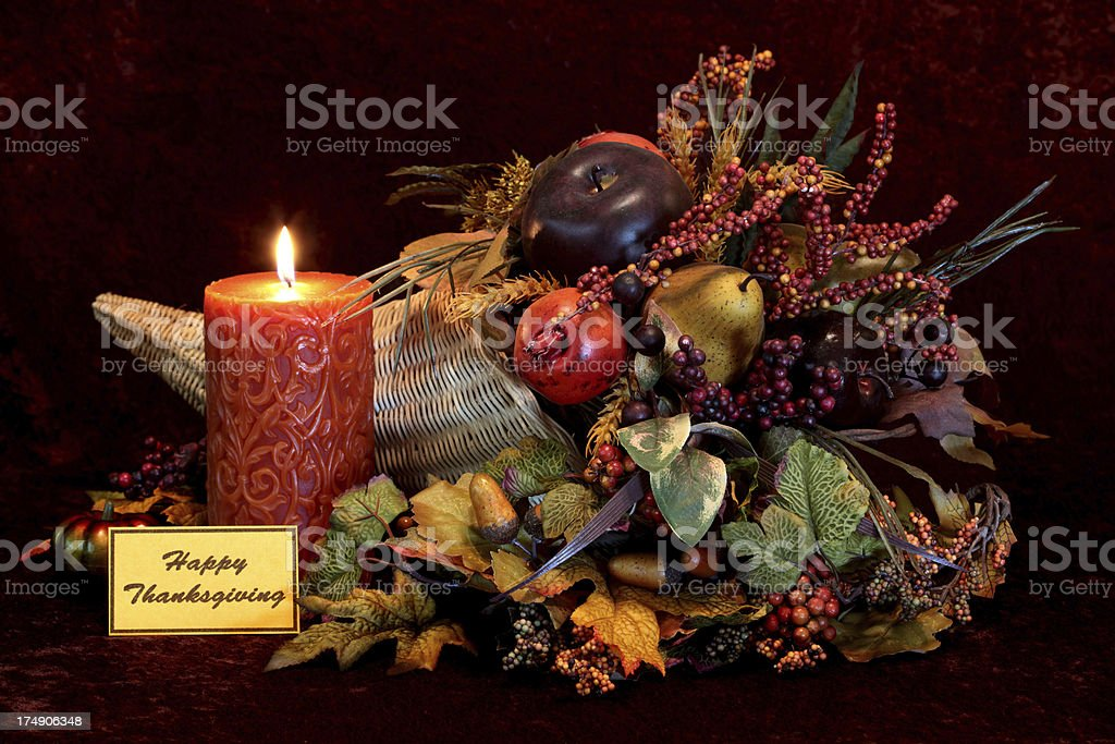 Holiday: happy Thanksgiving Cornucopia and candle Still Life royalty-free stock photo